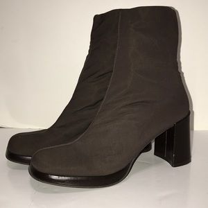 Vintage Square Toe Soft Stretch Chunky Heel Boots
